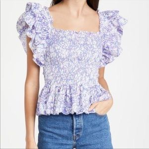 NWT Love the Label Anthro Smocked Ruffle Blouse Md